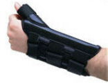 A full thumb spica is added to the wrist cock-up brace offering full immobilization of the wrist and thumb MP and CMC joints.