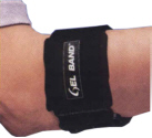 Gel-band arm band. Can be cooled or heated for therapy on acute or chronic injuries.